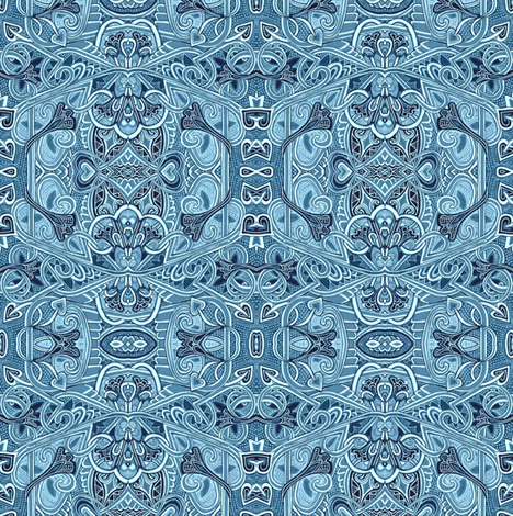 Hexagonal Blues fabric by edsel2084 on Spoonflower - custom fabric