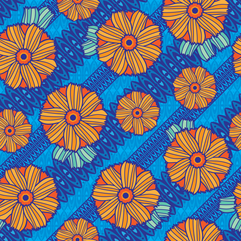Boho Blossoms (Blue) fabric by robyriker on Spoonflower - custom fabric