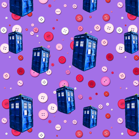 Doctor Who Inspired TARDIS Buttons fabric by bohobear on Spoonflower - custom fabric