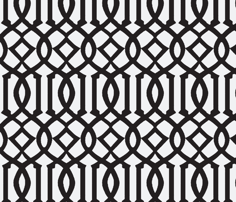 Imperial Trellis-Black Reverse-Large fabric by melberry on Spoonflower - custom fabric