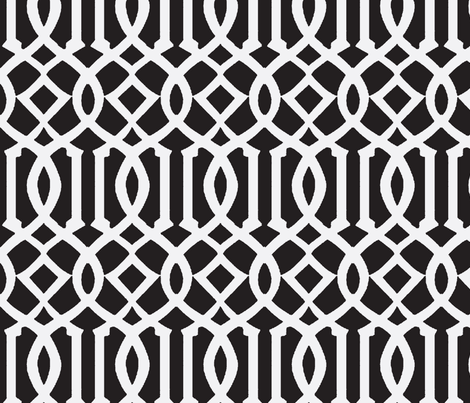 Imperial Trellis-Black-Large fabric by melberry on Spoonflower - custom fabric
