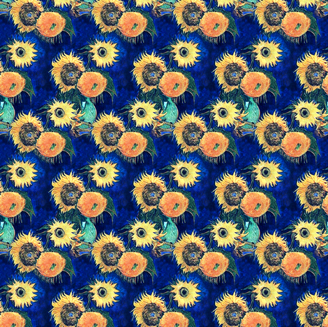 Blue Sunflowers Van Gogh (smaller version) fabric by bohobear on Spoonflower - custom fabric