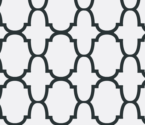 Quatrefoil- Charcoal/White-Large fabric by melberry on Spoonflower - custom fabric
