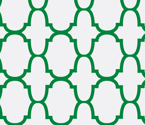 Quatrefoil- Kelly Green/White-Large fabric by melberry on Spoonflower - custom fabric