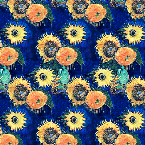 Van Gogh's Sunflowers on Blue (larger version) fabric by bohobear on Spoonflower - custom fabric