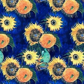 Van Gogh's Sunflowers on Blue (larger version)