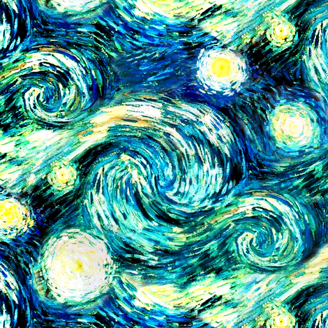 Starry Night Sky Swirly Stars from Van Gogh's Painting (sky only - large version) fabric by bohobear on Spoonflower - custom fabric