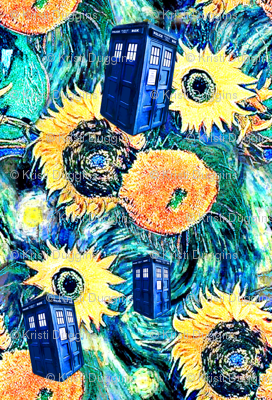 Van Gogh's Sunflowers   Blue Box