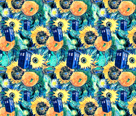 Van Gogh's Sunflowers   Blue Box fabric by bohobear on Spoonflower - custom fabric