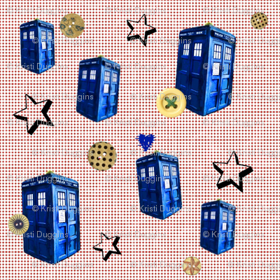 Doctor Who Inspired Dotted Swiss TARDIS Stars &amp; Buttons