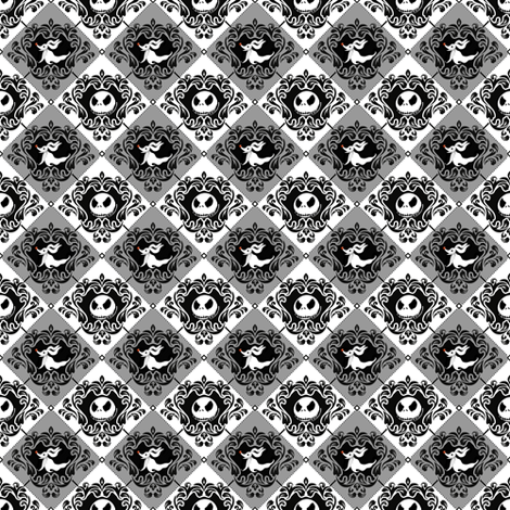 Jack Damask Gray Nightmare Before Christmas fabric by kyatastic on Spoonflower - custom fabric