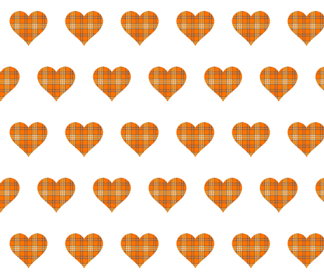 ORANGE GROVE TARTAN HEARTS fabric by bluevelvet on Spoonflower - custom fabric