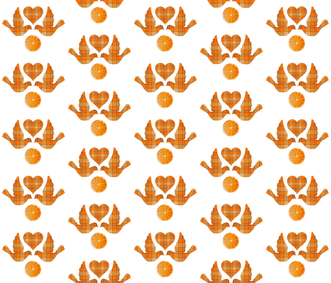 ORANGE GROVE TARTAN LOVE BIRDS fabric by bluevelvet on Spoonflower - custom fabric
