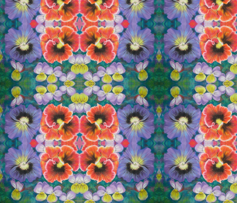 Violas and Pansies fabric by magicalumbrella on Spoonflower - custom fabric