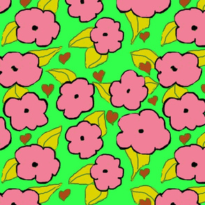 pink and green poppies