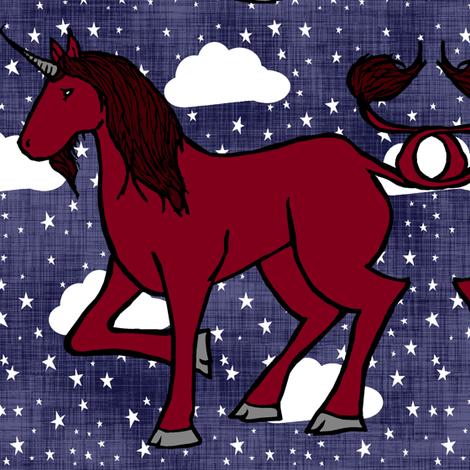Unicorn Sky Night fabric by pond_ripple on Spoonflower - custom fabric
