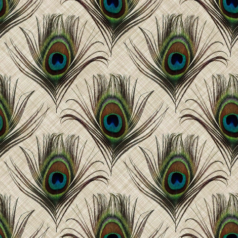 Peacock on linen fabric by vo_aka_virginiao on Spoonflower - custom fabric