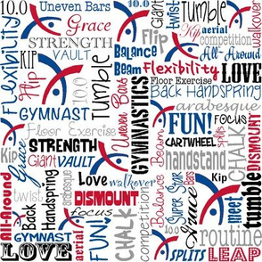 Gymnastics Words Red & Blue