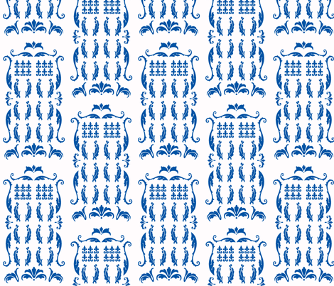 TDamaskBlue fabric by morrigoon on Spoonflower - custom fabric