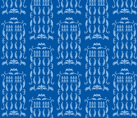 Blue Box Damask blue blue fabric by morrigoon on Spoonflower - custom fabric