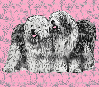 old_english_sheepdogs_with_flowers