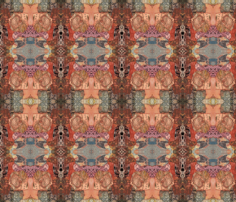 Mosaic collage terracotta 2 fabric by cathymcg on Spoonflower - custom fabric