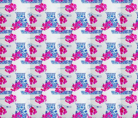 Geraniums and blue and white fabric by magicalumbrella on Spoonflower - custom fabric