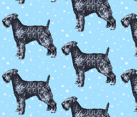 kerry_blue_terrier_with_stars fabric by dogdaze_ on Spoonflower - custom fabric
