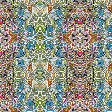 Muted Rainbow Zig Zag Diamond vertical stripe fabric by edsel2084 on Spoonflower - custom fabric