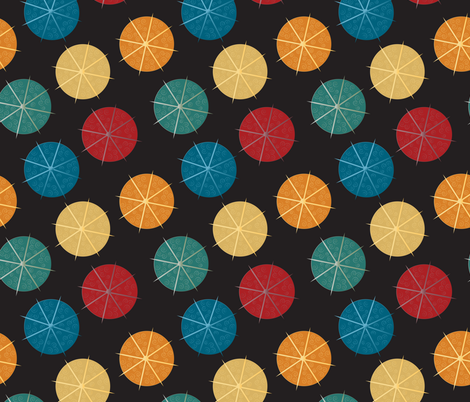 cocktail umbrellas on black fabric by kociara on Spoonflower - custom fabric