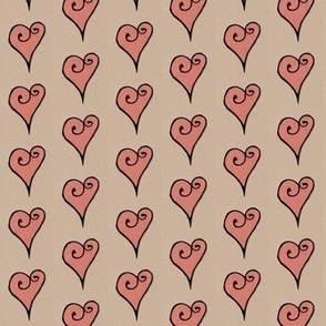 Heart Motif hearts red kraft