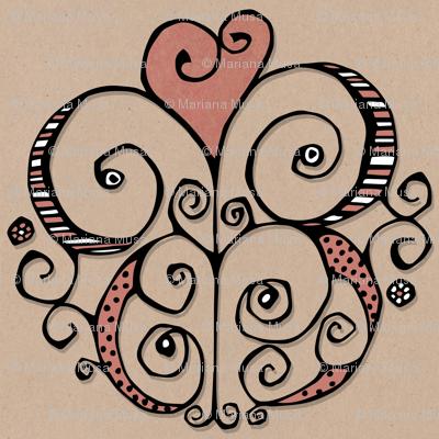 Heart Motif red