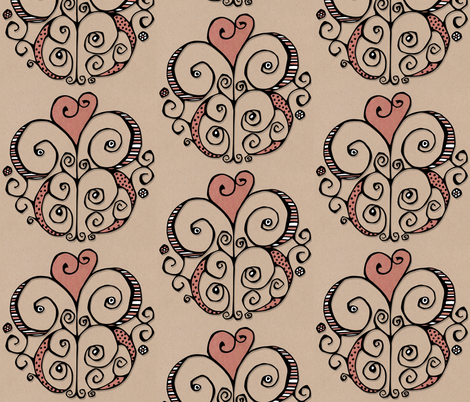 Heart Motif red fabric by floating_lemons on Spoonflower - custom fabric