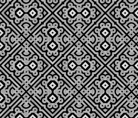 Embroidered Labyrinth in Black and White fabric by fridabarlow on Spoonflower - custom fabric