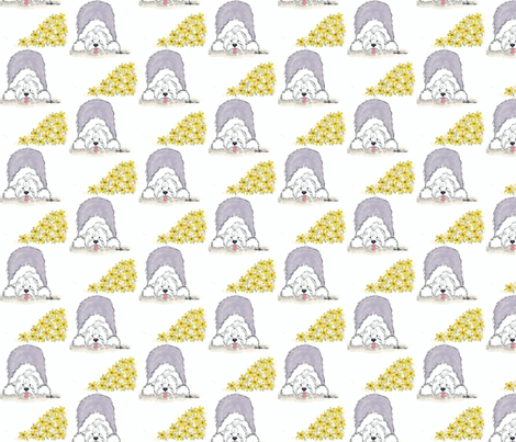 Old English Sheepdog-Daisy fabric by sheepiedoodles on Spoonflower - custom fabric