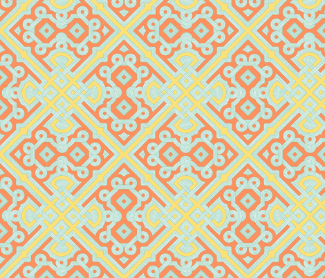 Embroidered Labyrinth in Peach and Yellow fabric by fridabarlow on Spoonflower - custom fabric