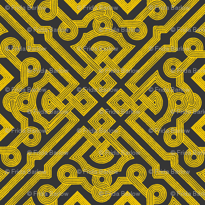 Embroidered Labyrinth in Charcoal and Gold