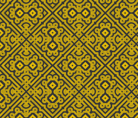 Embroidered Labyrinth in Charcoal and Gold fabric by fridabarlow on Spoonflower - custom fabric