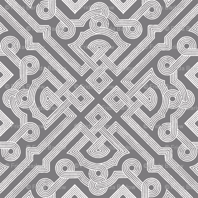 Embroidered Labyrinth in Steel Gray