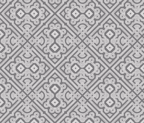 Embroidered Labyrinth in Steel Gray fabric by fridabarlow on Spoonflower - custom fabric