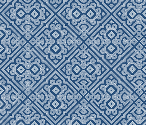 Embroidered Labyrinth in Royal Indigo  fabric by fridabarlow on Spoonflower - custom fabric