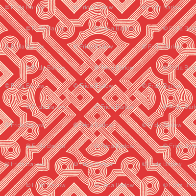 Embroidered Labyrinth in Romantic Red