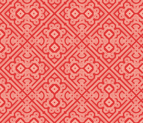 Embroidered Labyrinth in Romantic Red fabric by fridabarlow on Spoonflower - custom fabric