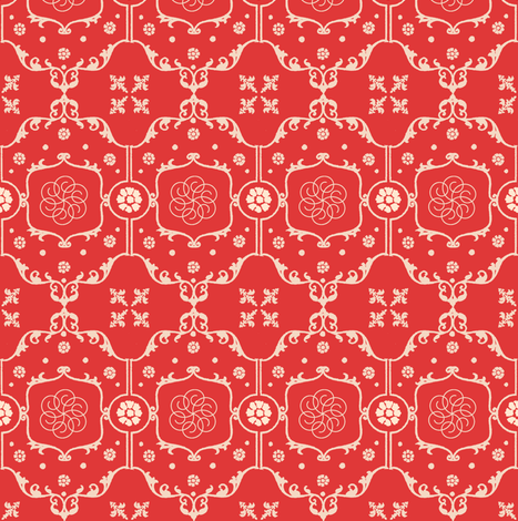 Shabby Frame in Romantic Red fabric by fridabarlow on Spoonflower - custom fabric