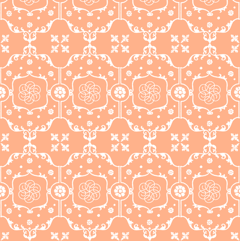 Shabby Frame in Peach Cream fabric by fridabarlow on Spoonflower - custom fabric