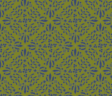 Leaves and Berries by 4  Twist blue olive canvas fabric by glimmericks on Spoonflower - custom fabric