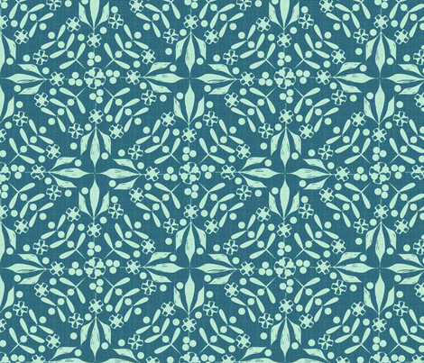 Leaves and Berries by 4 Twist aqua fabric by glimmericks on Spoonflower - custom fabric