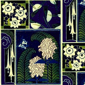art deco flowers blue
