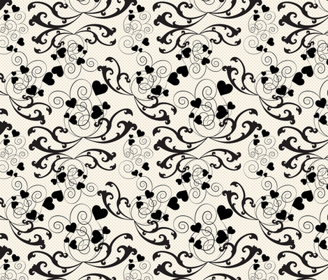 swirly hearts  fabric by kociara on Spoonflower - custom fabric
