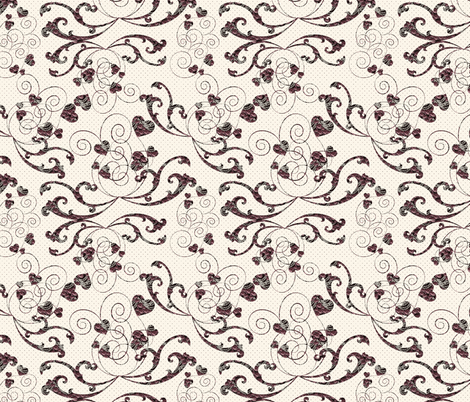 rosy hearts fabric by kociara on Spoonflower - custom fabric